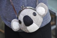koala kiss lock cross body bag (noristudio3o) Tags: noristudio koala kiss lock cross body bag pouch purse coin money change kids gift felting wet felted animal bear gray leather wool