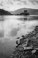 Look! A castle!!! (haqiqimeraat) Tags: eileandonancastle castle blackwhite monochrome mono nikon 2485 scotland scenery landscape serene log