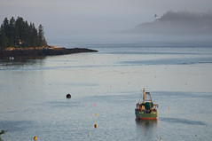 09-3547 (George Hamlin) Tags: water fog harbor day maine boothbay ligthouse