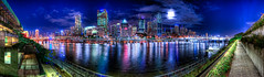 Brisbane (Stuart Addelsee) Tags: city bridge sky panorama moon reflection building water skyline night clouds river lights boat cityscape pano australia brisbane panoramic southbank qld queensland cbd pan brisbaneriver hdr brisbanecity darknight