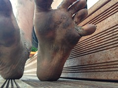Dirty soles (eurekadest) Tags: male feet toes mud dirty barefoot soles muddy