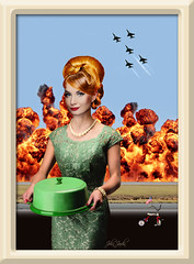 Cake Is Served (John Jardin) Tags: red woman cake lady vintage fire war sinister tricycle flag explosion dream hairdo retro americana nightmare elegant imperialism