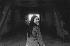 Never Forget (Nicole Cochary) Tags: bw white black film girl self nikon pretty natural cement battery framing shoulder developed f4 bwhp