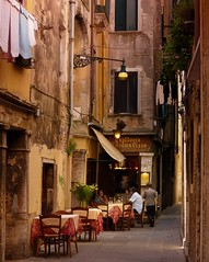 Blissful Venice is considerably quieter in the romantic hours (Bn) Tags: world life voyage street old city trip travel venice houses windows light sea summer people italy mu