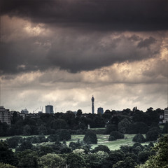 London 2012 July 20th (violinconcertono3) Tags: london rain landscapes flickr fineart cityscapes stormy bttower richmondpark rainclouds fineartphotography davidhenderson london2012 royalpark londonskyline fineartphotographer londonphotographer 19sixty3 19sixty3com