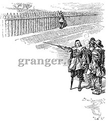 0056508 (Granger Historical Picture Archive) Tags: street city people dutch wall fence 17thcentury leg north governor american engraving wallstreet handicap stuyvesant pieter colony amputee colonist newamsterdam pegleg newnetherland
