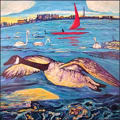 Harbour Goose (Tim Noonan) Tags: city toronto art water clouds harbor boat tim paint acrylic waves goose canvas swans sail mosca hypo