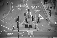 Triangle ([~Bryan~]) Tags: road street uk people blackandwhite bw london triangle traffic interaction buslane