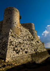 The walls and moat of Krac des Chevaliers, Syria (Eric Lafforgue) Tags: travel sky plant color colour castle history vertical horizontal architecture landscape outdoors photography day fort military hill religion bluesky nopeople medieval unescoworldheritagesite unesco syria 102 moat thepast homs siria levant syrien syrie krakdeschevaliers crusadercastle sirja tartus traveldestinations colorimage famousplace suriye   syri nationallandmark internationallandmark mediterraneanculture  sria szria thecrusades builtstructure  westernasia   crakdeschevaliers middleeasternculture  suriah sirija  cp  sora