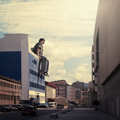 Extreme Parkour! (Rubn Chase) Tags: portrait selfportrait art photomanipulation photoshop self giant square photography town photo nikon foto extreme environmental manipulation gulliver godzilla galicia portraiture squareformat chase format autorretrato gigante vigo parkour rubn manipulacin fotomanipulacin d90 carb cs5 freeflyer09