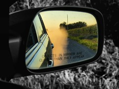Putting today in the rear view (Studio_XII) Tags: road rural canon mirror country aaron missouri toyota dust gravel selectivecoloring altenthal