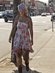 4834.2 Illustrated Woman (eyepiphany) Tags: streetphotography portlandoregon stumptown streetfashion tattooedwoman bodyascanvas illustratedwoman bodyasart streetfashionphotography stumptownfashion portlandcasual portlandcazl portlandfashion365daysayear portlandfashiontrends summerfashion2012 floralfittedsheathdresswithruffledhem blondehairwithbluehighlights