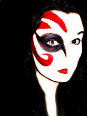 creepy face (tmbrightphotography) Tags: red white black macro eye halloween girl face dark hair photography idea weird crazy scary eyes stripes makeup evil lips creepy devil creep