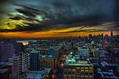 Extreme Manhattan/New York Sunset ! Batman The Dark Knight Rises, End of all Days, End of the World? Who knows but there's a storm a brewing!!! (Paul in Leeds) Tags: city travel sunset panorama usa newyork storm black west color colour apple monument colors beauty weather st ferry night contrast america skyscraper square stars fly us big high colours gloomy view angle state spires threatening centralpark manhattan flag sony centre united hurricane ngc wide scenic trails center shades full american timessquare windswept frame strata vista times states lightning geography dslr bigapple thunder strips wispy 900 outstanding skywalk thegalaxy a900
