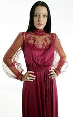 Victorian Inspired Burgundy Chiffon & Ornamental Lace Satin Gown Close Up Front (mondas66) Tags: ruffles dress lace victorian chiffon dresses romantic gown elegant gowns ornate satin ornamental lacy sheer frilly elegance ruffle frills frill ruffled lacework frilled frilling frillings befrilled