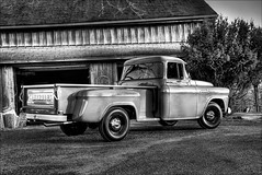 Ain't gonna work on Maggie's farm no more (TheWalkinMan) Tags: bw classic barn truck vintage blackwhite farm 58chevyapache nikonsunglassesscoredatthethriftstore