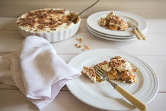 199/366: Banoffee Pie [Explored] (judi may) Tags: wood pie table dessert dof dish depthoffield plates crumbs cloth forks banoffeepie foodstyling canon7d ohcrumbs day199366 366the2016edition 3662016 17jul16