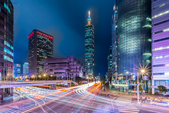 Fading Away Scene  (Sharleen Chao) Tags: taipei101 taiwan skyline landscape skyscraper 101    nightscene cityscape city night canon longexposure building bluehour magicblue tuesday orange  5dmarkiii 1635mm locallandmark capitalcity urban tracks lighttracks