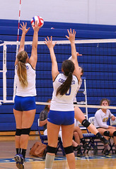 IMG_5466 (SJH Foto) Tags: net battle spike block action shot jump midair girls volleyball high school lancaster mennonite pa pennsylvania team tween teen teenager varsity