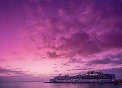 Diamond Princess in Yokohama at dawn (aotaro) Tags: morning yokohama sky fe1635mmf4zaoss yokohamaredbrickwarehousepark ilce7m2 osanbashipier yokohamabaybridge kanagawa cruiseship diamondprincess atdawn japan