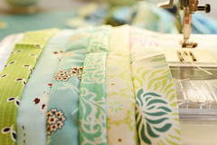 no garden work today : ) (balu51) Tags: patchwork quilting sewing quilt wip stashsewing fabric strips sewingmachine blue green teal cream summerquilt coinquilt august 2016 copyrightbybalu51