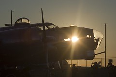 Sunset through the B-17 (Stephen Gardiner) Tags: hamilton ontario 2016 canadianwarplaneheritagemuseum lancster flyingfortress mitchell worldwar2 b17 b25 avro boeing northamericanaviation night plane aircraft propeller noseart pentax k3ii 1645