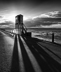 Shadows of the Watch Tower (Tracey Whitefoot) Tags: tracey whitefoot 2016 northumberland coast coastal mono monochrome black white watch tower watchtower emergency shadows shadow holy island causeway tidal low tide lindisfarne