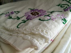 Vintage embroidered pillowcase (eg2006) Tags: crocheted embroidered vintageembroidery lavender purple vintage vintagepillowcase vintagelinen