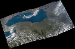 Lake Ontario and Finger Lakes (sjrankin) Tags: 11september2016 edited nasa panorama iss iss048 iss048e66730 iss048e66731 iss048e66732 iss048e66733 iss048e66734 iss048e66735 greatlakes canada lakeontario fingerlakes newyork lakeerie