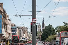 Edinburgh's New Speed Limit (m.o.n.o.c.h.r.o.m.e.) Tags: bluesky trampoles scottmonument speedlimit princesstreet traffic 20 balmoralhotel twenty tramlines