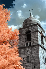 Church of St. Clara (Marz88) Tags: ir infrared church kotor montenegro trees