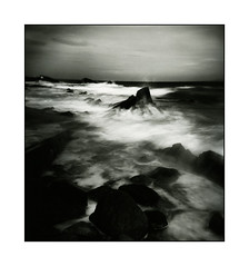 Sandycove Dublin silver print (Monosnaps) Tags: camera ireland sea wild dublin seascape tower film toy seaside holga rocks waves image 100 analogue dart jamesjoyce acros sandycove dirtyoldtown olddublin monosnaps irishseascape irishlandscapephotography eddiemallin