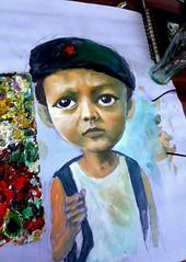 School Boy (silly-ill) Tags: school boy red bag star bigeyes acrylic drawing littleboy