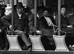 Electric trams, Ste. Catherine St., Montreal, QC, 1895 (Musée McCord Museum) Tags: canada hat vintage pin stripe tram moustaches crammed unibrow classy offtowork 1895 mccordmuseum muséemccord electrictrams buisinessmen
