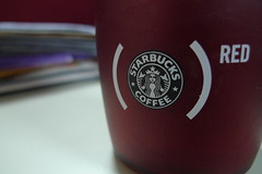 Starbucks Coffee Tumbler (EdzL) Tags: red coffee work office starbucks caffeine tumbler