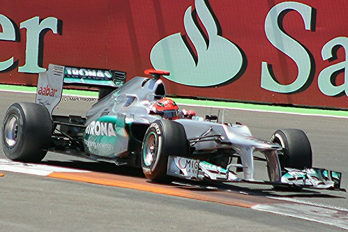 Michael Schumacher in his Mercedes F1 car during the 2012 European Grand Prix in Valencia