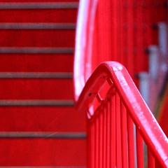 Red staircase (tanakawho) Tags: red abstract texture line staircase squareformat layer undulation railing curve postproduction treatment tanakawho texturedwednesdaytwtme