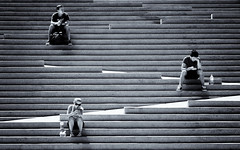 Lunch break (. Jianwei .) Tags: street light urban coffee lines vancouver stairs three bottle triangle phone geometry candid sony cell stranger characters noon zigzag lunchbreak robsonsquare a55 kemily tgam:photodesk=people2012