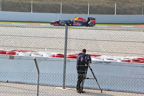 Mark Webber in his Red Bull Racing car at Formula One Winter Testing, Circuit de Catalunya, March 2012