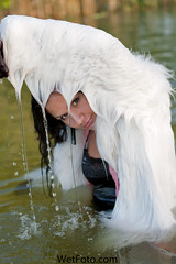 #130.3 (Wetlook with WetFoto.com) Tags: woman lake sexy wet water girl beautiful scarf swimming fun photo model wasser adult free furcoat clothes jeans soak gloves heels getwet tight splash baden dripping mdchen singlet nass wetlook fullyclothed wetfoto