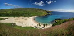 Anakena Panorama (hapulcu) Tags: chile southpacific easterisland cl rapanui isladepascua anakena