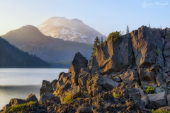 Spark of Light (RyanManuel) Tags: charity sunset lake mountains reflection water oregon sisters three nikon ray bend hiking sister or south trail cascades glaciers sparks atkeson d800e