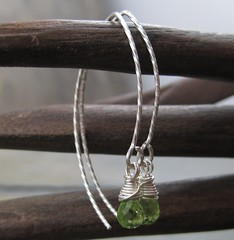 Simple Twisted Peridot Threads (AshleighAnnette) Tags: thread wire fine drop earrings simple dangle twisted peridot sterlingsilver wirewrapped threader briolette
