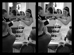 Champagne Tower (FlickrJono) Tags: wedding blackandwhite photoshop champagne curves crop clone levels recolor