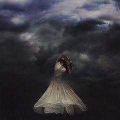 reaching for clouds (brookeshaden) Tags: selfportrait fairytale clouds dress surrealism stretch tension whimsical fineartphotography darkart brookeshaden