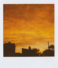 * (Lisa Toboz) Tags: sunset chimney silhouette polaroid pittsburgh rooftops glowing expired garfield slr680 600film theskyisonfire