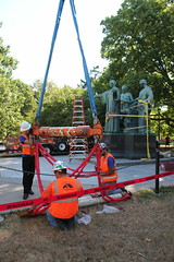 Removal of the Alma Mater Statue (Ray Cunningham) Tags: statue campus illinois university alma mater uiuc urbana restoration champaign removal