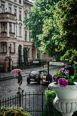 Rainstorm in Germany (Shawn Cusworth) Tags: street city storm rain umbrella germany rainstorm thunderstorm potsdam sunbreak downpour drizzle hardrain cityrain germanarchitecture sunandrain potsdamgermany streetrain germanyrain