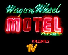 "Wagon Wheel Motel (Photography by Martin Garfinkel) Tags: signs abandoned rust neon decay lodging rusty roadtrip mompop historic retro faded americana neonsign roadside roadsideattraction backroads ontheroad smalltown motherroad vintagesigns vintageneon bluehighways sign"" vanishingamerica wagonwheelmotel vintagemotel ""ghost themainstreetofamerica societyforcommercialarcheology roadsidegallery"