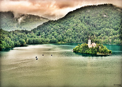 Lake Bled (Powder Hunter) Tags: mountains church woodland island europe honeymoon cloudy slovenia inversion weddinggift lakebled glaciallake julianalps pletna blejskojezero pilgrimagechurchoftheassumptionofmary